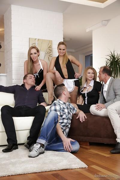 Lesbians Jenny Simons, Barra Brass and Angel Diamonds enjoy groupsex