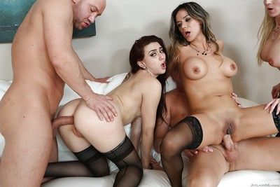 Pornstars Francesca Le, Mandy Muse, Nadia Styles and AJ Applegate take cock