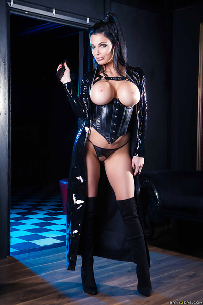 Brunette babe Aletta Ocean posing for fetish blast in latex and need boots