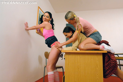 Sexual lesbo Mila Black has some BDSM fun with her assistants