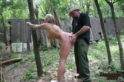 Hardcore BDSM scene with a cute big tits girl Kayla Green outdoor