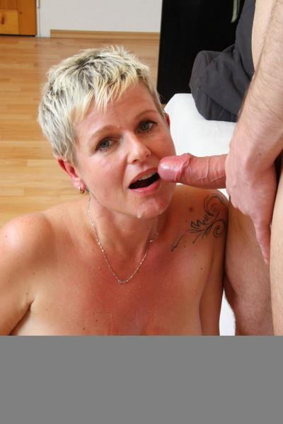 Horny blond housewife sucking and fucking get joy crazy