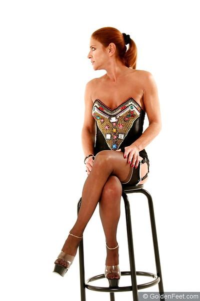 Aged redhead European woman Lady Sarah flashing penetrated vagina