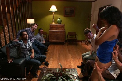 Sexy babe purchases tied up, punished and fucked by group of guys