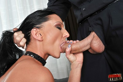 Lecherous courtesan gets her cherry hole crammed with a plug and with a huge boner
