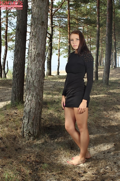 Outdoor undressing action from an adolescent teen babe Lorette