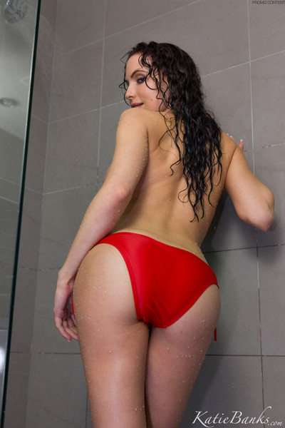 Katie banks showering in a bikini and stripping stripped