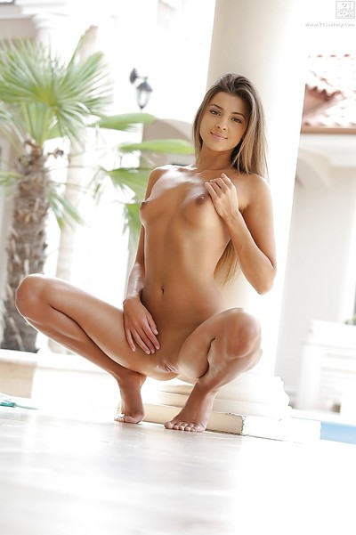 Glamorous infant babe Maria Rya posing outdoors in bikini and flashing tits
