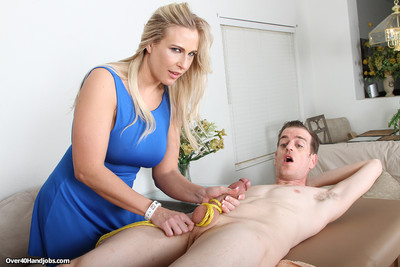 Mature massage therapist angela strokes and slobbers his cock until he spurts al