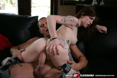 Tattooed slut enjoys a vast fat boner filling her firm twat and eager jaw