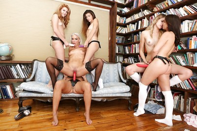 Tongues and toys used in a hot lesbo orgy that gets out of control