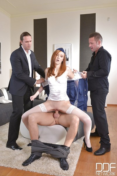 Appealing redhead stewardess Linda Sweet orally fixating and riding jock in fuckfest