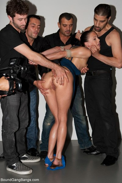 Sexy doll accepts united up, punished and drilled by group of chaps