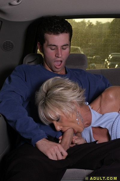 Ache grown blonde skates on a young meaty pole in the car