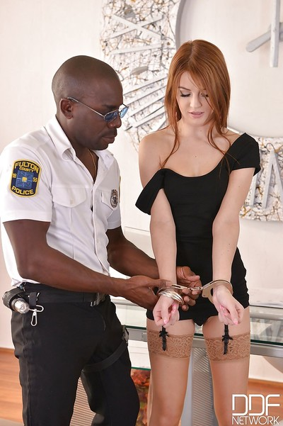 Stocking clad Euro redhead Timea Bela taking hardcore interracial anal banging