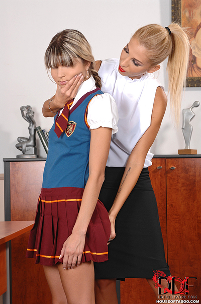 Schoolgirl spinner caught astonishingly and has bare ass spanked by MILF teacher