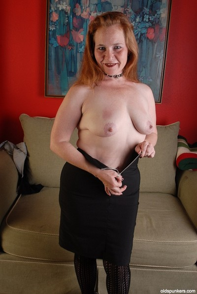 Stunning elderly Spicy is trying to lick her lovely hard nipples