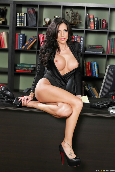 Awesome office chick Jaclyn Taylor presents her astonishingly big boobies