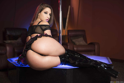 Pretty stripper Abella Danger taking off petticoat in OTK boots