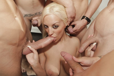 Nasty chick Blonde Fesser sucks off lots of massive rods whilst taking anal