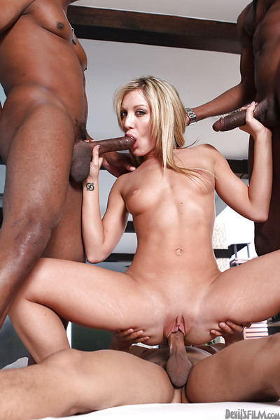 Cute Amy Brooke has interracial groupsex with triple chocolate chaps