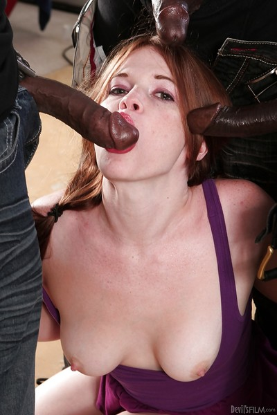 Hot waste slut Ariel Stonem acquires banged by three black stallions with giant cocks
