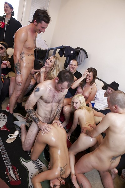 Lecherous coeds enjoy a hardcore sex orgy at the address party