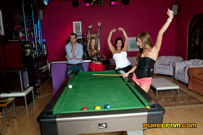 Lost gamble ends in embarrassed nudity and a milking by 3 girls