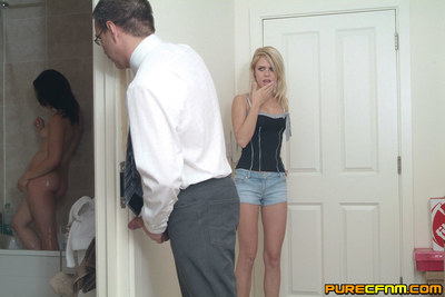 Keek is undressed and wanked for spying on Jessica Pressley in the bare