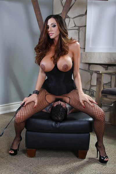 Busty femdom in tube Ariella Ferrera gets her feet and love-cage licked
