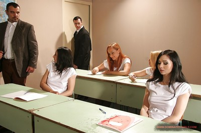 Nasty schoolgirls getting punished severe and hard by their naughty teachers
