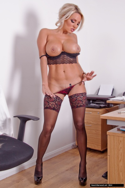 Office babe Dannii Harwood always feels the best form to get through to her boss is through his trousers! So when she puts on an office show in just some sexy lingerie and stockings, it does the trick and purchases him very impressed!
