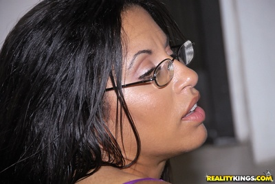 Naughty babe in glasses Serena Sinful takes coins for riding a cock