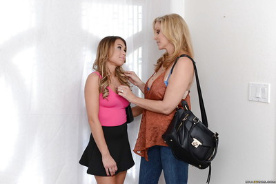 Blonde mommy Julia Ann and young slut Kendall Kayden suck and cruise schlong