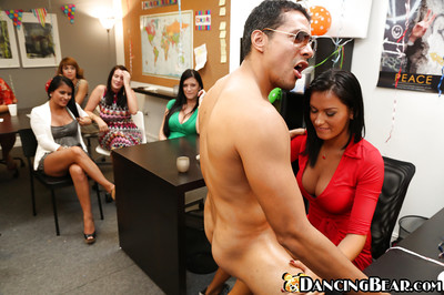 Outstanding angels at the office are giving tons of wet blowjobs