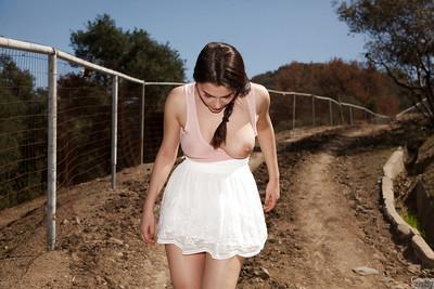 Imposing brunette bombshell Valentina Nappi having fun on a farm