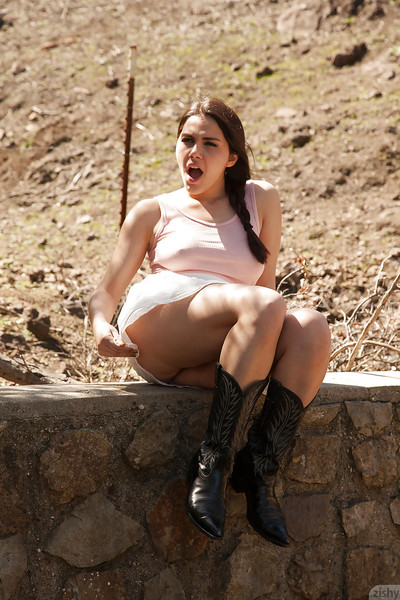 Imposing brunette bombshell Valentina Nappi having fun on a farm