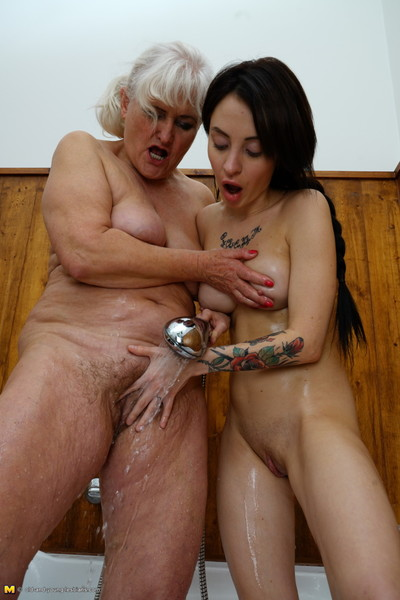 Naughty old and youthful lesbians have fun in the bathroom