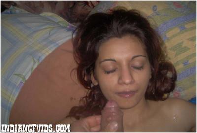 Indian girlfriend sucking weenie in daybed