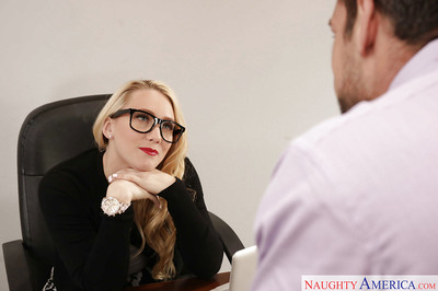 Glasses clad blond secretary AJ Applegate having 69 sex on office desk