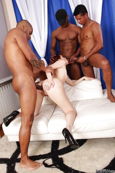 Wild interracial group sex with astonishing redhead Atlanta