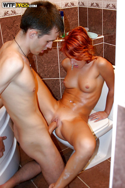 Diet redhead teen taking washroom and having some hardcore liking