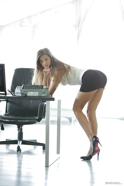 Office babe Maria Rya reveals her pornstar ass and long legs