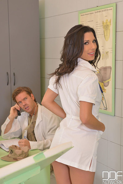 Dark brown Euro nurse Alexa Tomas taking hardcore anal sex from doctors
