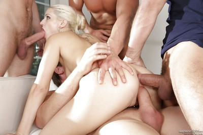 Blonde Euro slut Blanche Bradburry getting gangbanged on massage table