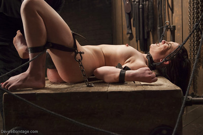 Juliette March is bound for painful caning of without clothes flesh and exposed slit
