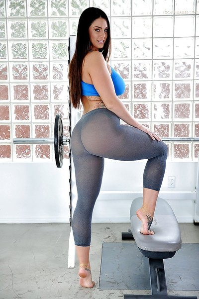 Sporty beauty Alison Tyler working out in spandex pants and flashing massive tits