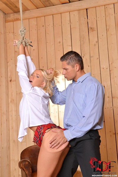 Clothed golden-haired schoolgirl is drugged and forced into hardcore BDSM sex