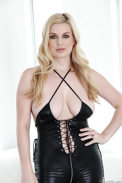 Latex affectionate blonde hottie with big titties Danielle is so sexy