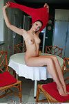 Leggy brunette babe Ardelia A flaunting shaved pussy during glamour burst